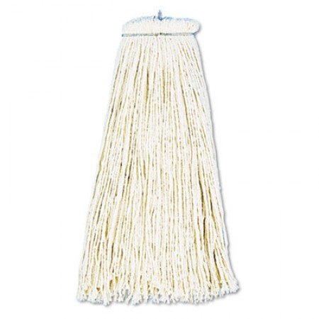Cut-End Lie-Flat Wet Mop Head, Cotton, 16oz, White, 12/Carton