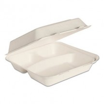 """Dart Bare by Solo Eco-Forward Bagasse Hinged Lid Containers, 3-Compartment, 9-3/5"""" x 9-2/5"""" x 3-1/5"""", Ivory, 200/Carton"""