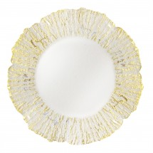 The Jay Companies 1470334 Deniz Flower Shape Gold Glass Charger Plate 13""