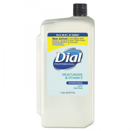 Dial Antimicrobial Liquid Soap with Moisturizers, 1 Liter Refill, 8/Carton