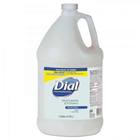 Dial Antimicrobial Soap with Moisturizers, Pleasant Scent, 1 Gallon, 4/Carton