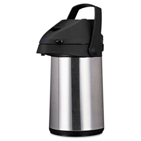 Direct Brew/Serve Insulated Airpot with Carry Handle, 2200 mL, Stainless Steel