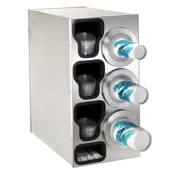 Dispense-Rite BFL-C-3RSS  8-44 oz. 3-Cup Beverage / Lid and Straw Countertop Dispenser