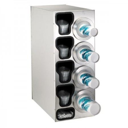 Dispense-Rite BFL-C-4RSS 4-Cup Beverage / Lid and Straw Countertop Dispenser 8-44 oz.