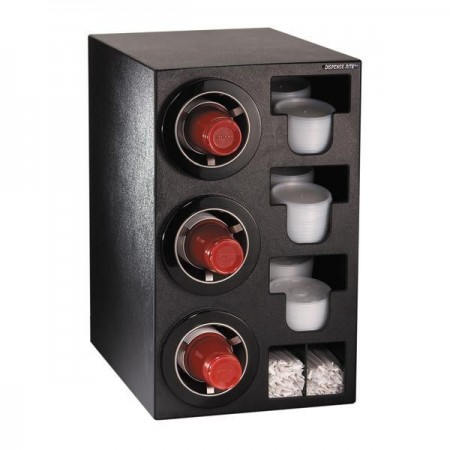 Dispense-Rite CTC-C-3BT 3-Cup Beverage / Lid and Straw Countertop Dispenser 8-44 oz.