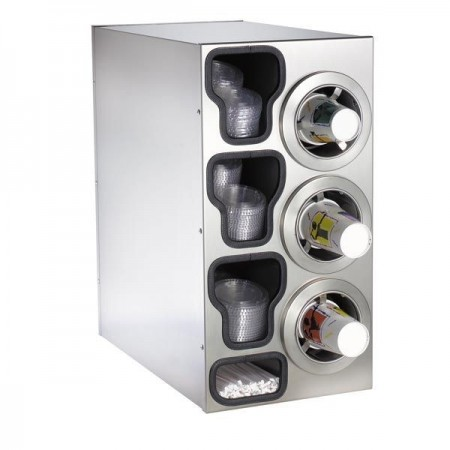 Dispense-Rite CTC-C-3LSS 3-Cup Beverage / Lid and Straw Countertop Dispenser 8-44 oz.