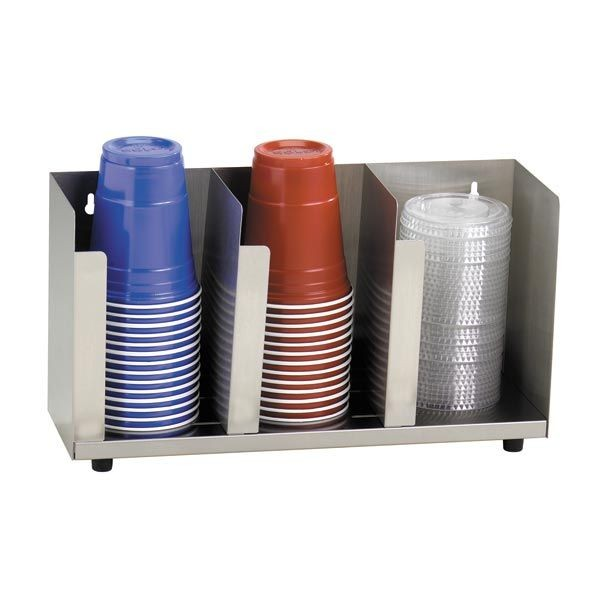 Dispense-Rite CTLD-15 3-Section Adjustable Cup / Lid Organizer