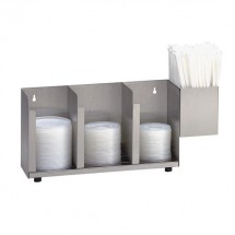Dispense-Rite CTLD-15A 3- Section Adjustable Cup / Lid Organizer With Straw Attachment
