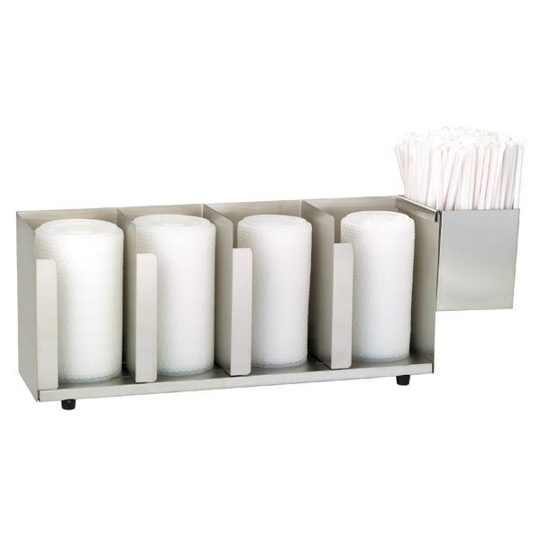 Dispense-Rite CTLD-19A 4- Section Cup / Lid Organizer With Straw Attachment