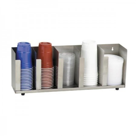 Dispense-Rite CTLD-22 5-Section Beverage Cup / Lid Organizer 6-44 oz.