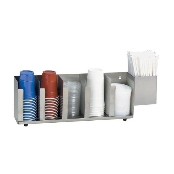 Dispense-Rite CTLD-22A 5-Section Cup / Lid Organizer With Straw Attachment
