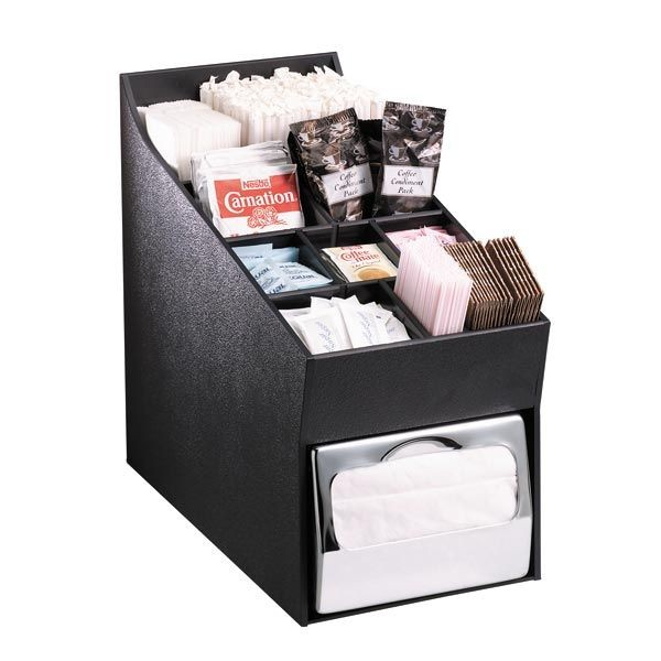 Dispense-Rite NLO-ADNH 10-Compartment  Napkin Dispenser and Lid / Straw / Condiment Organizer