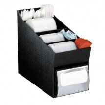 Dispense-Rite NLO-LDNH 4-Compartment Napkin Dispenser and Lid / Straw Organizer