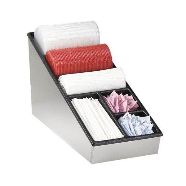 Dispense-Rite NLS-1  6-Compartment Condiment, Lid and Straw Organizer
