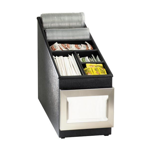 Dispense-Rite NSLC-1BT 6-Compartment Napkin Dispenser and Condiment / Lid Organizer