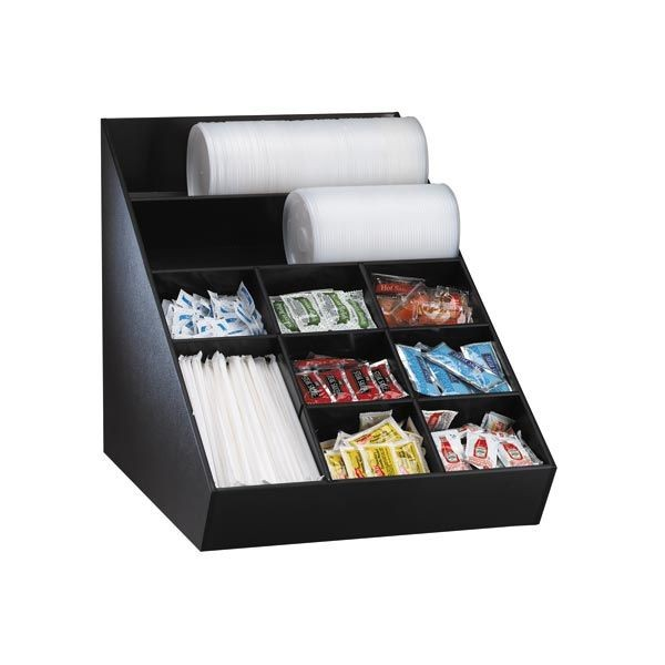 Dispense-Rite WLO-1B 10 Compartment Condiment and Lid Organizer