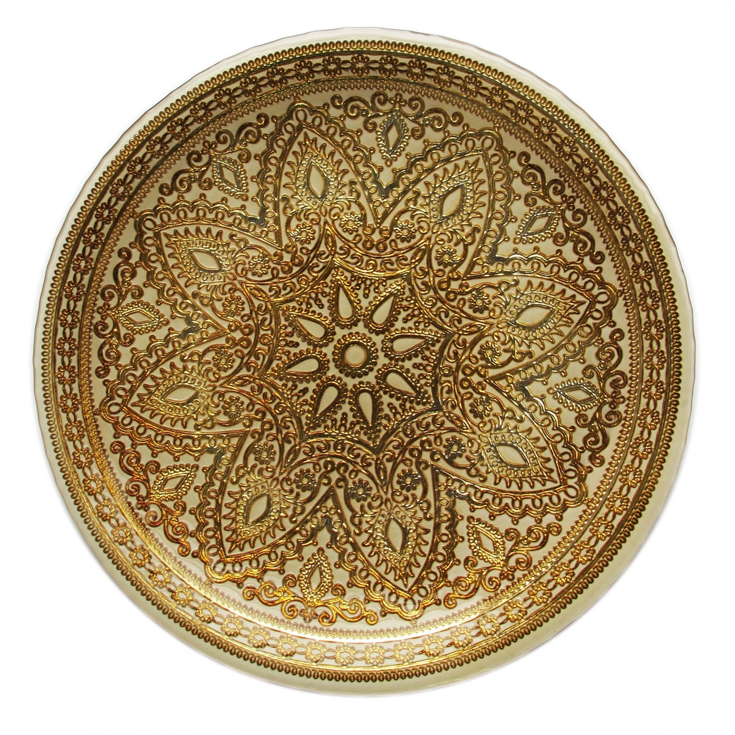 The Jay Companies 1900051 Round Divine Gold Glass Charger Plate 13""
