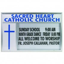 Double Sided Marquee Changeable Sign System with Symbol Case and Header, Satin Anodized Finish 52
