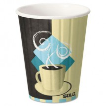 Dart Duo Shield Hot Insulated 12 oz. Paper Cups, Tuscan, Chocolate/Blue/Beige, 40/Pack