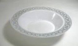 EZWare 6043 Palatial Premium Plastic Bowl with Silver Rim 12 oz. - 10 packs