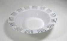 EZWare 6051 Empress Premium Plastic Bowl with Silver Rim 12 oz. - 10 packs