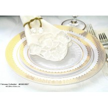EZWare-6051-Princess-Premium-Plastic-Salad---Dessert-Plate-with-Gold-Rim-7-5----10-packs