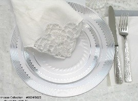 EZWare 6056 Princess Premium Plastic Dinner Plate with Silver Rim 10.25