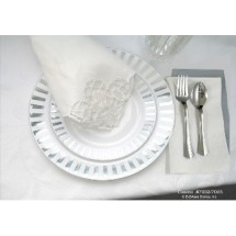 EZWare 6072 Ribbons Premium Plastic Dinner Plate with Silver Rim 10.5\  - 10 packs  sc 1 st  TigerChef & EZWare 6072 Ribbons Premium Plastic Dinner Plate with Silver Rim ...