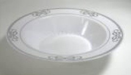 EZWare 6075 Ribbons Premium Plastic Bowl with Silver Rim 12 oz. - 10 packs