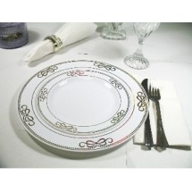 EZWare 6076 Ribbons Premium Plastic Dinner Plate with Gold Rim 10.5