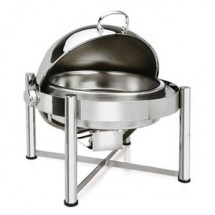 Eastern Tabletop 2128 Pillar'd Silverplated Round Rolltop Chafer 8 Qt.