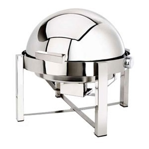 Eastern Tabletop 2148 P2 Pillar'd Silverplated Round Rolltop Chafer 8 Qt.