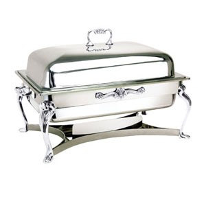 Eastern Tabletop 2206QA Queen Anne Silverplated Rectangular Lift-Off Chafer 8 Qt.