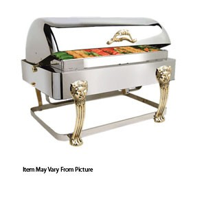 Eastern Tabletop 2704LH Lion Head Silverplated Rectangular Rolltop Chafer 8 Qt.