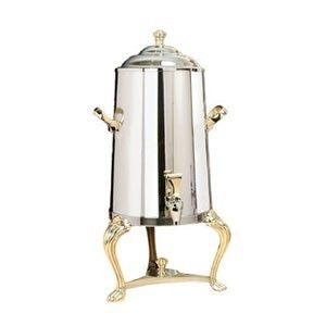Eastern Tabletop 3001QA Queen Anne Insulated Stainless Steel Coffee Urn with Brass Accents 1-1/2 Gallon