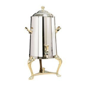 Eastern Tabletop 3003QA Queen Anne Insulated Stainless Steel Coffee Urn with Brass Accents 3 Gallon