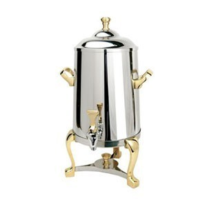 Eastern Tabletop 3005FS Freedom Insulated Stainless Steel Coffee Urn with Brass Accents 5 Gallon