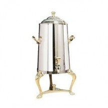 Eastern Tabletop 3005QA Queen Anne Insulated Stainless Steel Coffee Urn with Brass Accents 5 Gallon