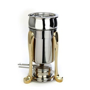 Eastern Tabletop 3101FS Marmite Soup Chafer with Brass Accents 2 Qt.