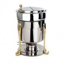 Eastern Tabletop 3107FS Marmite Soup Chafer with Brass Accents 7 Qt.