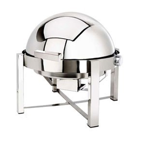 Eastern Tabletop 3148 Pillard Square Stainless Steel Rolltop Round Chafer 8 Qt.