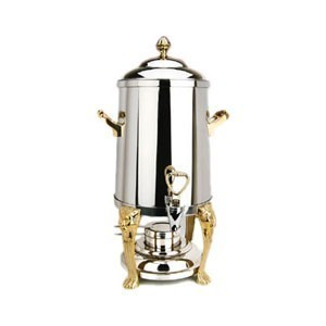 Eastern Tabletop 3201LH Lion Head Stainless Steel Coffee Urn with Brass Accents 1-1/2 Gallon