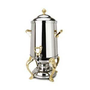 Eastern Tabletop 3201QA Queen Anne Stainless Steel Coffee Urn With Brass Accents 1-1/2 Gallon