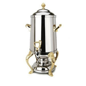 Eastern Tabletop 3203QA Queen Anne Stainless Steel Coffee Urn with Brass Accents 3 Gallon