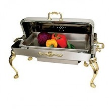 Eastern Tabletop 3204QA Queen Anne Rectangular Rolltop Chafer with Brass Accents 8 Qt.