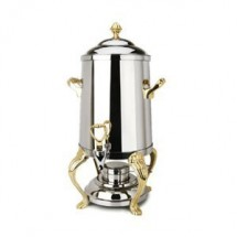 Eastern Tabletop 3205QA Queen Anne Stainless Steel Coffee Urn with Brass Accents 5 Gallon