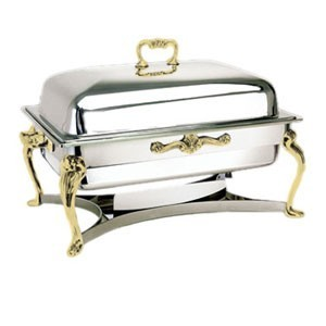 Eastern Tabletop 3206QA Queen Anne Rectangular Lift-Off Chafer with Brass Accents 8 Qt.