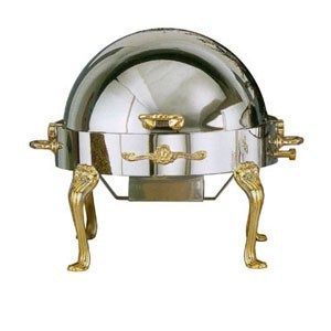Eastern Tabletop 3208QA Queen Anne Round Rolltop Chafer with Brass Accents 8 Qt.