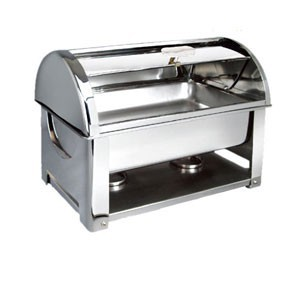 Eastern Tabletop 32202 Collapsible Rectangular Roll Top Chafer 8 Qt.