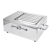 Eastern Tabletop 3265G-SS Stainless Steel Single Butane Stove Cover Up with Grates